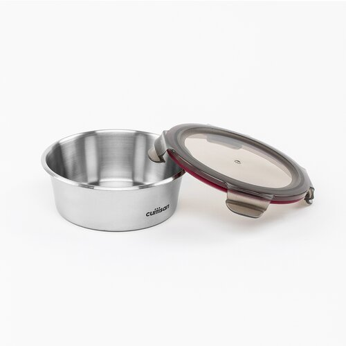 Airtight container in stainless steel, round, 640ml